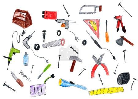 Photo pour Collection de bandes dessinées matériel outils, dessin enfant sur papier, photo art dessinés à la main - image libre de droit