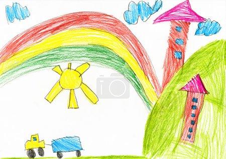 Foto de Casa en el pueblo. niños de dibujo. - Imagen libre de derechos