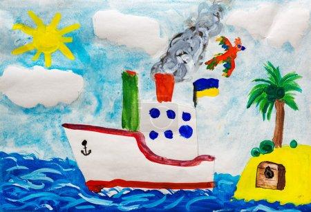 Photo pour Navire près de l'île. Dessin enfant . - image libre de droit