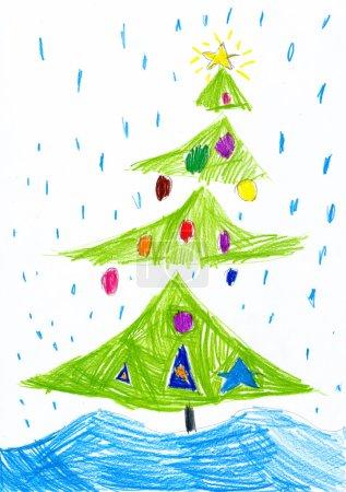 Christmas tree on snowfall. Child drawing.