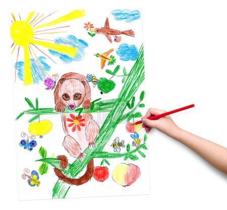 Foto de Mano de niño con lápiz de dibujo imagen - Imagen libre de derechos