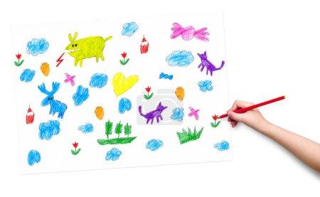 Photo pour Main d'enfant avec le crayon dessin - image libre de droit