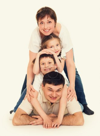 Photo for Happy family on white - Royalty Free Image
