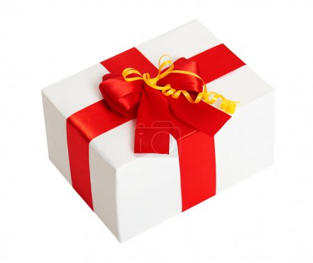gift box with ribbon and bow on white background