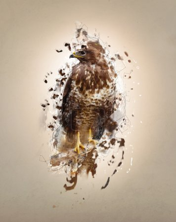 Falcon on the branch, abstract animal concept