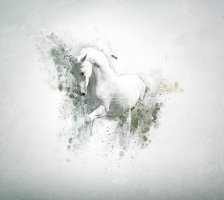 Graceful white horse, abstract animal concept.