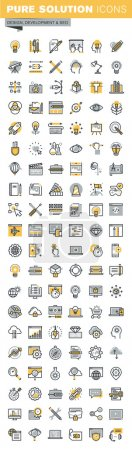 Illustration pour Ensemble d'icônes modernes de conception de lignes minces vectorielles et de développement de site Web. Pictogramme de logo vectoriel moderne et collection d'éléments de conception infographique. Aperçu de la collection d'icônes pour la conception de sites Web et d'applications . - image libre de droit