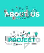 Set of modern vector illustration concepts of words about us and project