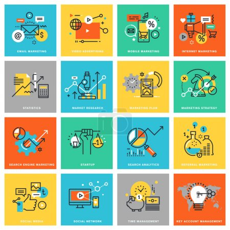 Illustration for Thin line flat design icons for digital marketing, different categories of marketing and advertising, social media and network, analytics and planning, marketing strategy. Icons for web and app design - Royalty Free Image