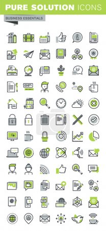 Illustration for Thin line icons set of business, office supplies and equipment, online communications, social network, technical support, mobile services. Premium quality outline icon collection. - Royalty Free Image