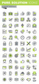 Thin line icons set of business office supplies and equipment online communications social network technical support mobile services Premium quality outline icon collection