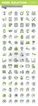 Illustration for Thin line icons set of banking, insurance, affiliate marketing, business workflow, career opportunities, team skills, management. Premium quality outline icon collection. - Royalty Free Image