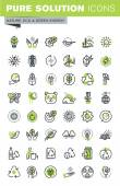 Thin line icons set of recycling theme environment natural life sustainable technology renewable energy