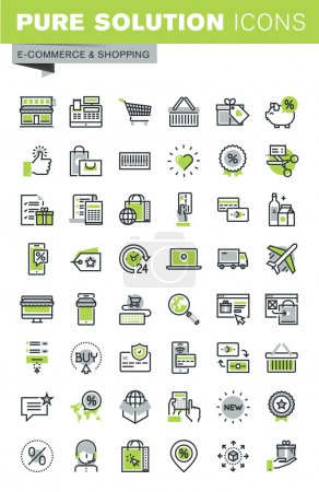 Thin line icons set of online shopping, e-commerce and m-commerce services