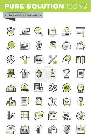 Photo pour Icônes de ligne mince ensemble d'enseignement à distance, formation et cours en ligne, solutions cloud pour l'éducation, formation du personnel, bibliothèque numérique, étude de base et élémentaire. Collection d'icônes haut de gamme . - image libre de droit