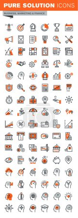 Illustration for Set of thin line web icons for graphic and web design and development. Icons of business solutions, banking, money transfer, online payment and security, market research, human brain process. - Royalty Free Image