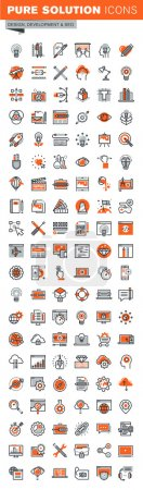 Illustration for Set of thin line web icons for graphic and web design and development. Icons of app development, cloud computing, website maintenance, online security, seo, data protection, design solutions. - Royalty Free Image