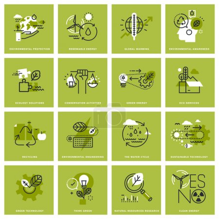 Illustration for Set of thin line concept icons of environment, renewable energy, sustainable technology, recycling, ecology solutions. Premium quality icons for website, mobile website and app design. - Royalty Free Image