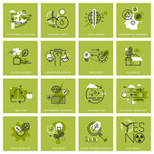Set of thin line concept icons of environment renewable energy sustainable technology recycling ecology solutions