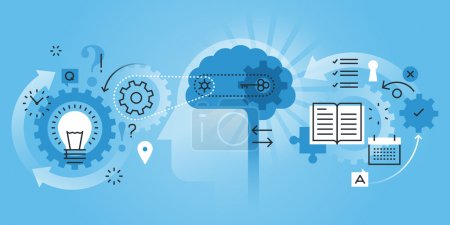Illustration for Flat line design website banner of learning process, brain process, creativity, innovation, learn to think. Modern vector illustration for web design, marketing and print material. - Royalty Free Image