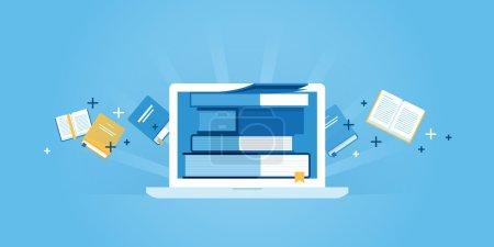 Photo pour Bannière plate de site Web de conception de ligne de e-learning, e-book, éducation en ligne. Illustration vectorielle moderne pour la conception web, le marketing et l'impression . - image libre de droit