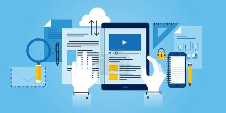 Illustration pour Bannière de site Web de conception de ligne plate de e-learning. Illustration vectorielle moderne pour la conception web, le marketing et l'impression . - image libre de droit