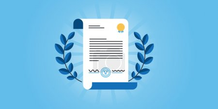 Flat line design website banner for certificate, diploma