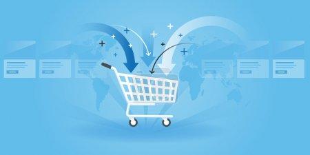 Illustration pour Flat line design website banner of shopping, product order, add to cart. Illustration vectorielle moderne pour la conception web, le marketing et l'impression . - image libre de droit