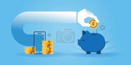 Illustration pour Bannière de site Web de conception de ligne plate d'économiser l'argent tout en faisant des achats en ligne, achats en ligne bon marché. Illustration vectorielle moderne pour la conception web, le marketing et l'impression . - image libre de droit