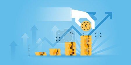 Illustration for Flat line design website banner of investment, money savings. Modern vector illustration for web design, marketing and print material. - Royalty Free Image