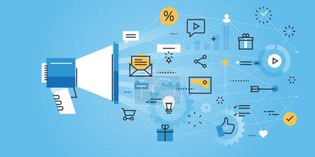 Illustration for Flat line design website banner of digital marketing. Modern vector illustration for web design, marketing and print material. - Royalty Free Image