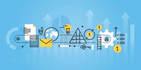 Flat line design website banner of business process, investment