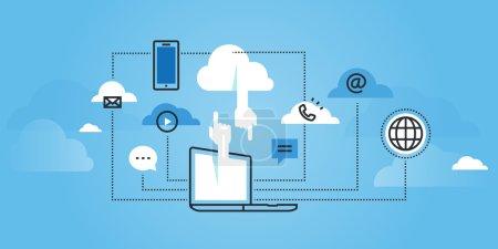 Flat line design website banner of cloud computing services