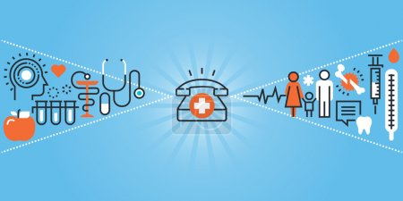 Illustration for Flat line design website banner of healthcare, clinic and hospital facilities. Modern vector illustration for web design, marketing and print material. - Royalty Free Image