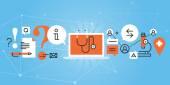Flat line design website banner of online medical diagnosis and treatment