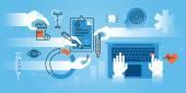 Flat line design website banner of medical school medical specialization Modern vector illustration for web design marketing and print material