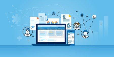 Illustration for Flat line design website banner of health plan management solutions. Modern vector illustration for web design, marketing and print material. - Royalty Free Image