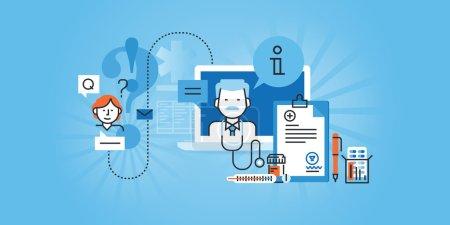 Illustration for Flat line design website banner of online medical services. Modern vector illustration for web design, marketing and print material. - Royalty Free Image