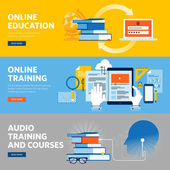 Set of flat line design web banners for online education online training and courses