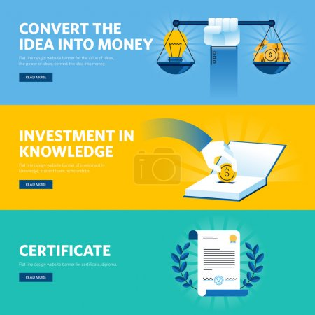 Set of flat line design web banners for investment in knowledge, certificate, convert the idea into money