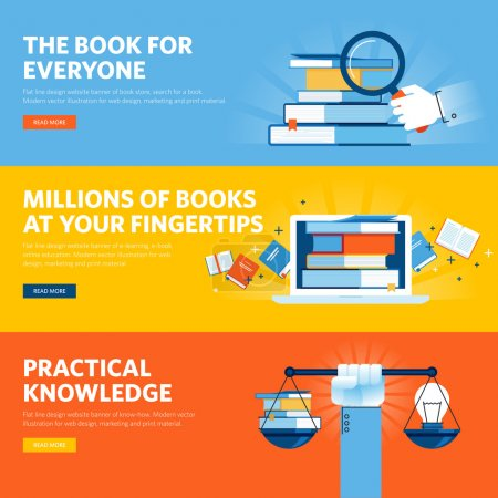 Set of flat line design web banners for online book store, e-book, know how
