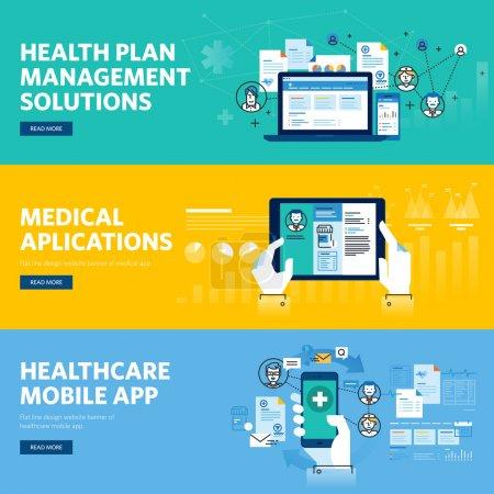 Set of flat line design web banners for healthcare mobile app, health plan management solutions