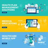 Set of flat line design web banners for healthcare mobile app health plan management solutions