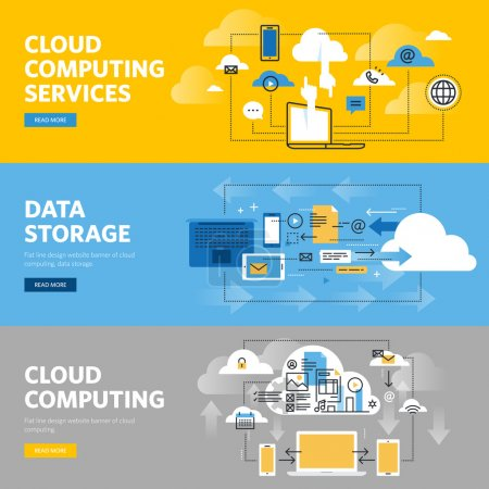 Set of flat line design web banners for cloud computing services and technology, data storage