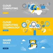 Set of flat line design web banners for cloud computing, online share ideas platform, idea management software