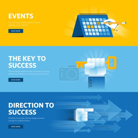 Set of flat line design web banners for busisness success, strategy, organization, news and events