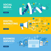 Set of flat line design web banners for social media internet marketing networking and business services