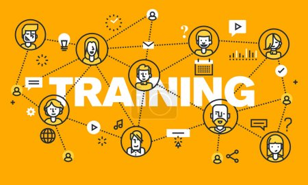 Thin line flat design banner for TRAINING web page