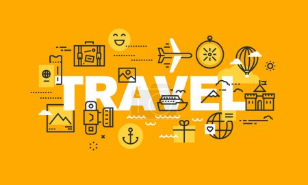 Thin line flat design banner for TRAVEL web page