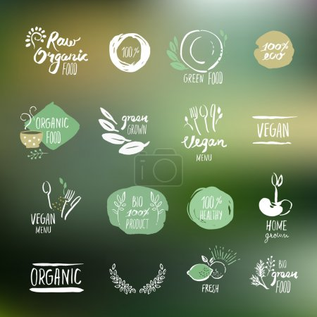 Illustration for Set of hand drawn style stickers and elements for organic food and drink, natural products, restaurant, healthy food market and production, on the nature background. Vector illustrations. - Royalty Free Image